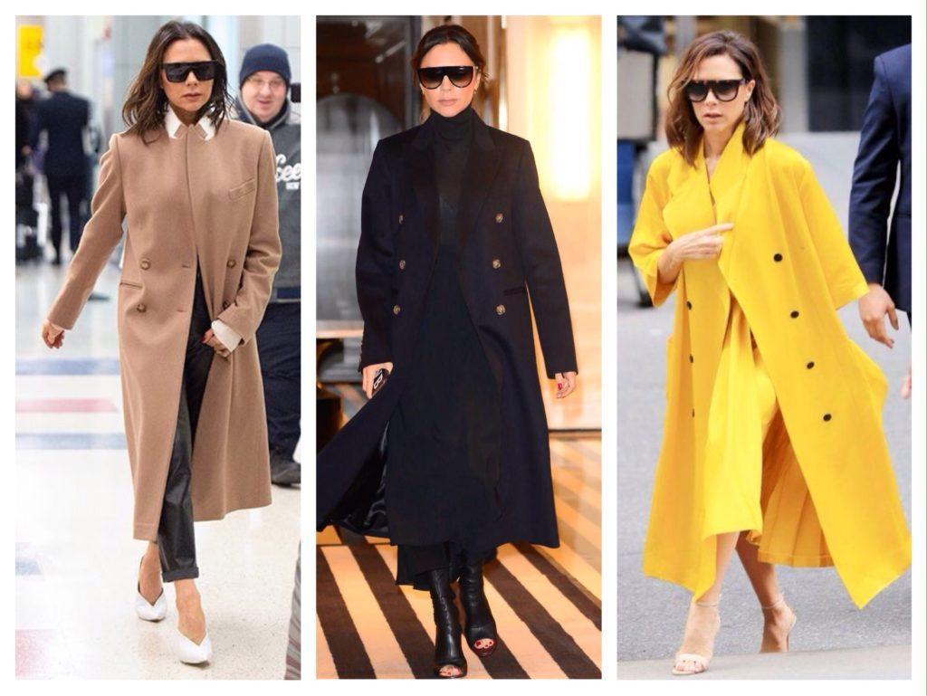 Двубортное пальто образы Виктории Бекхэм