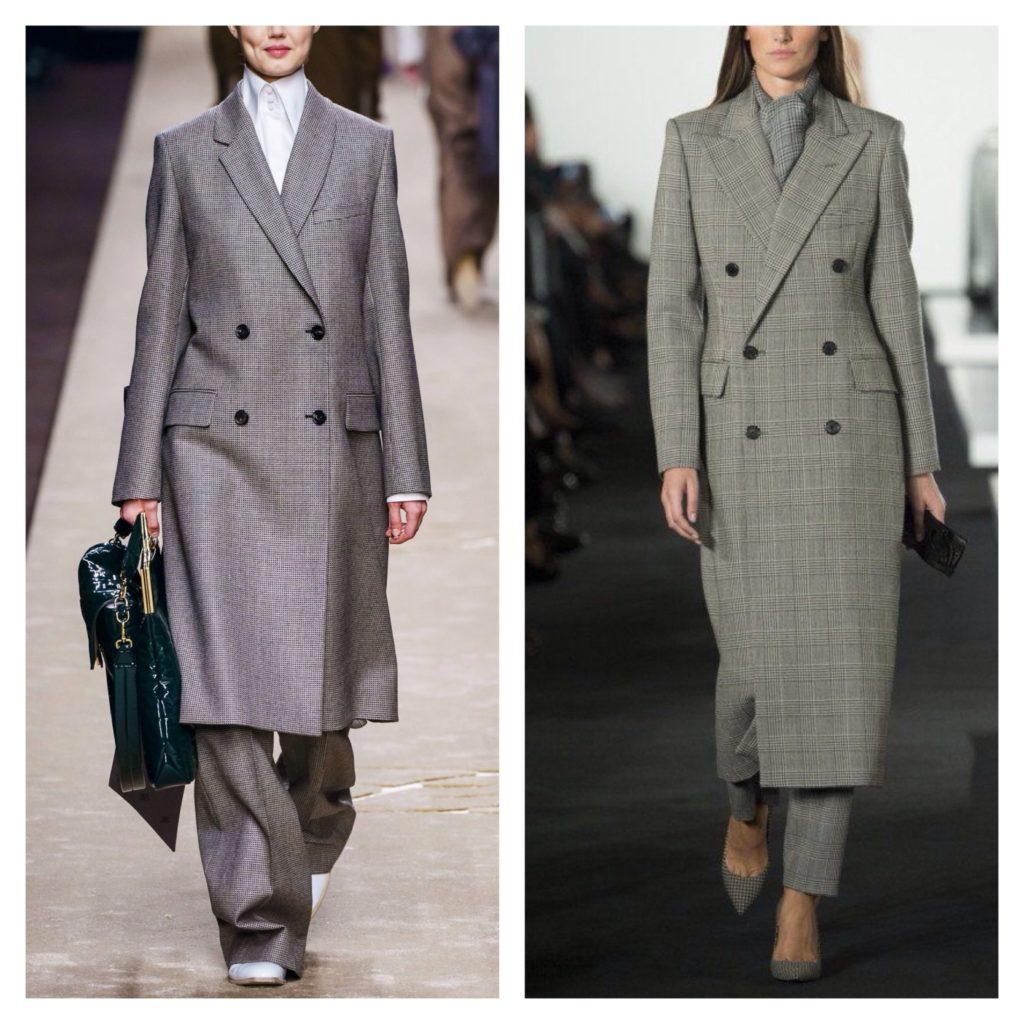 Двубортные пальто в брючных комплектах