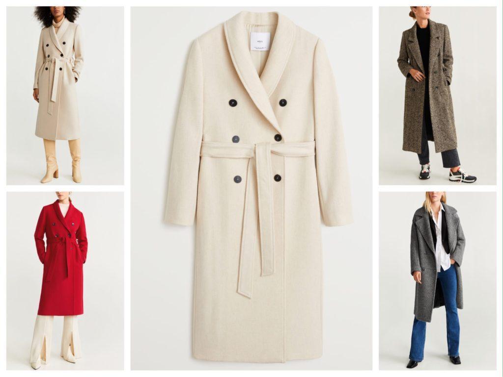 Модели двубортных пальто от Mango