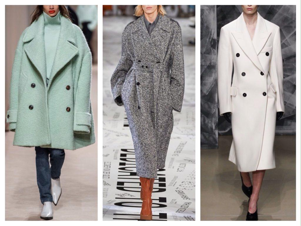 Модели двубортных пальто с мировых подиумов