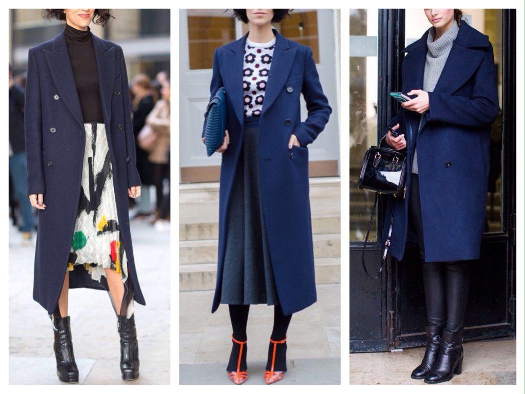 Образы с синим двубортным пальто