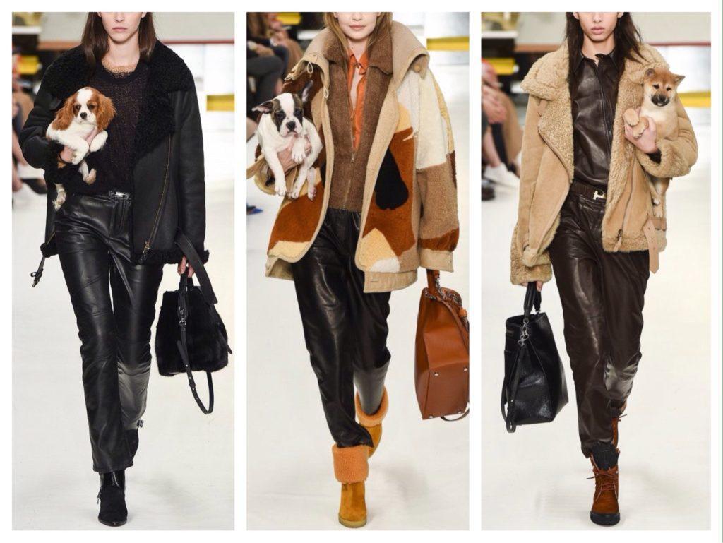 кожаные брюки и меховой верх