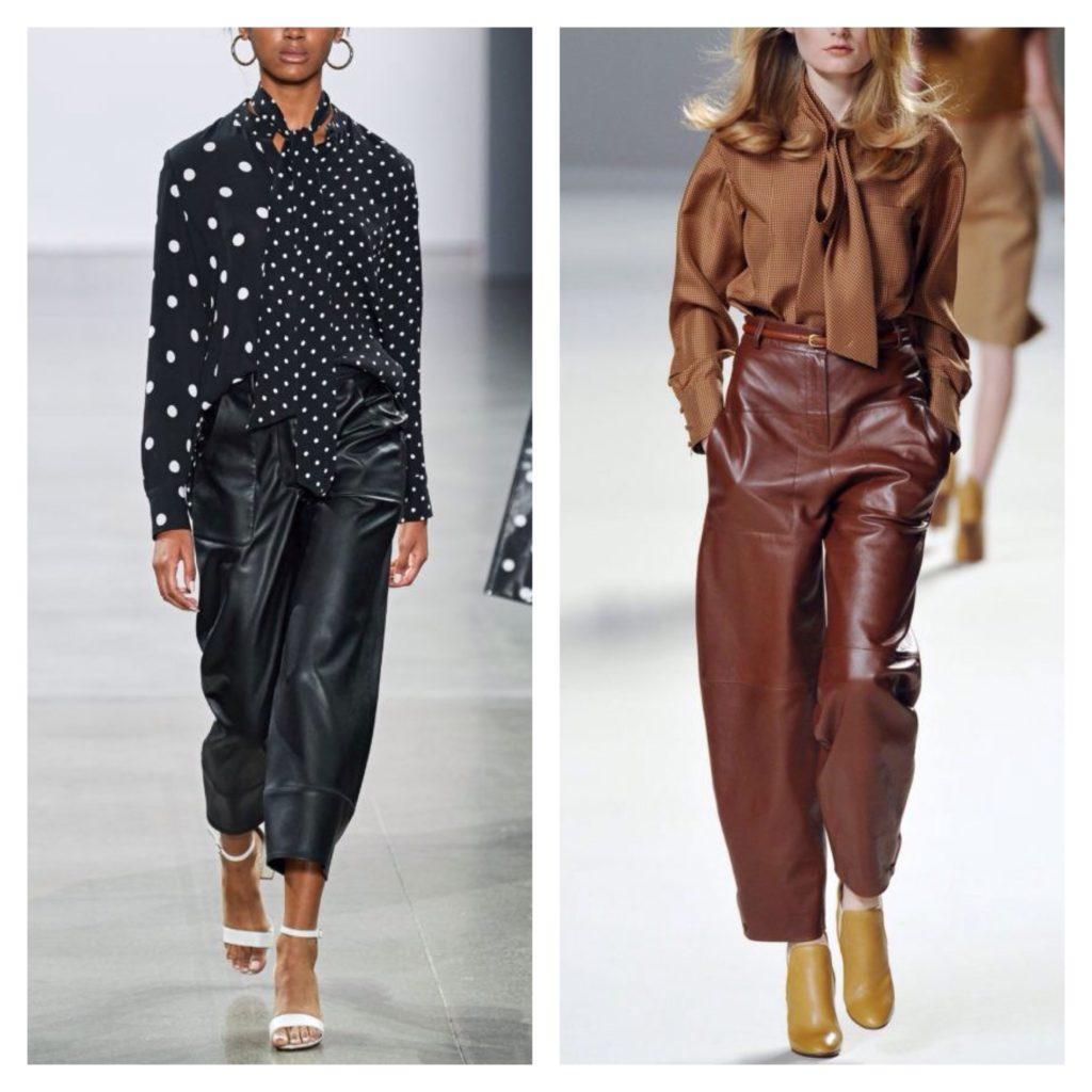 кожаные брюки с блузой
