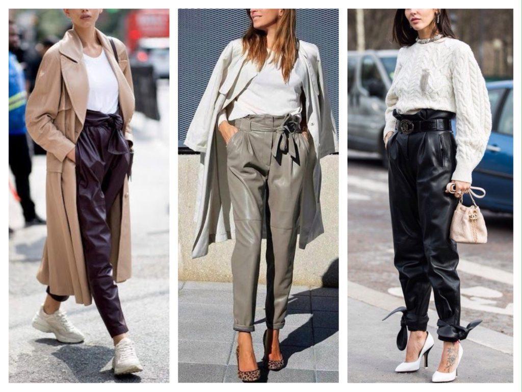 кожаные брюки с завышенной талией