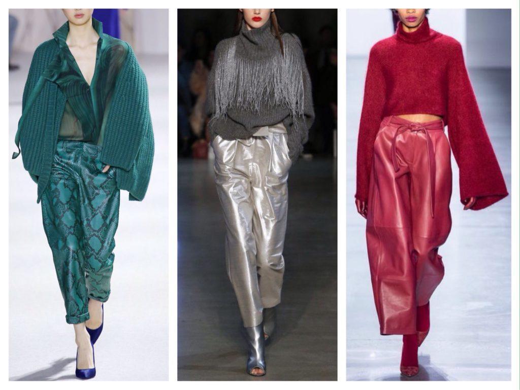 кожаные брюки в модных коллекциях