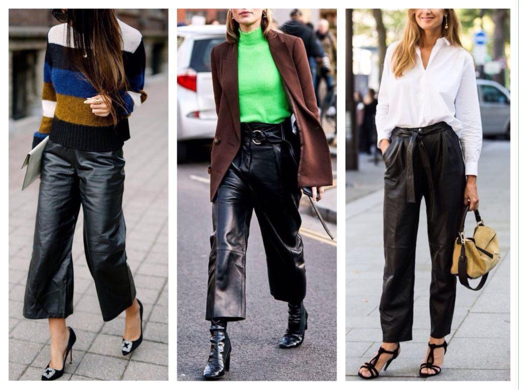 повседневные комплекты с кожаными брюками