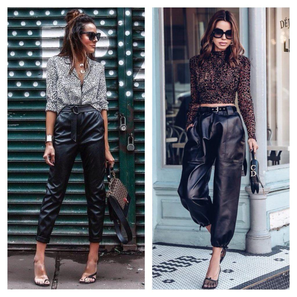 кожаные брюки с рубашкой и кроп топом