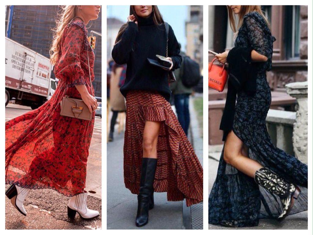 длинные платья с казаками