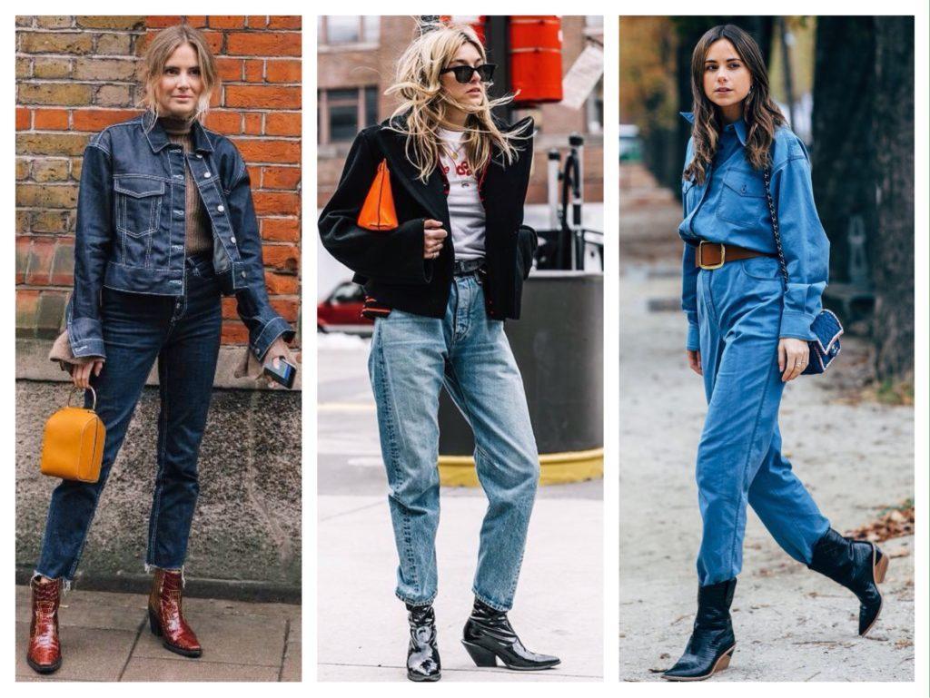 сапоги в ковбойском стиле и джинсы