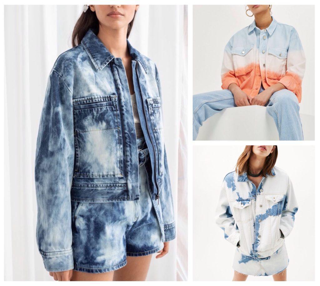 женские модли джинсовых курток тай дай принт