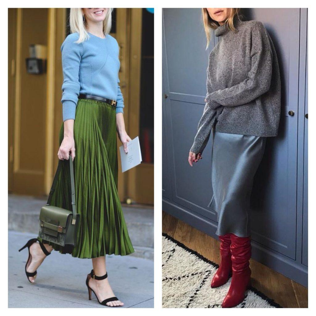 свитер с юбкой плиссе и платьем