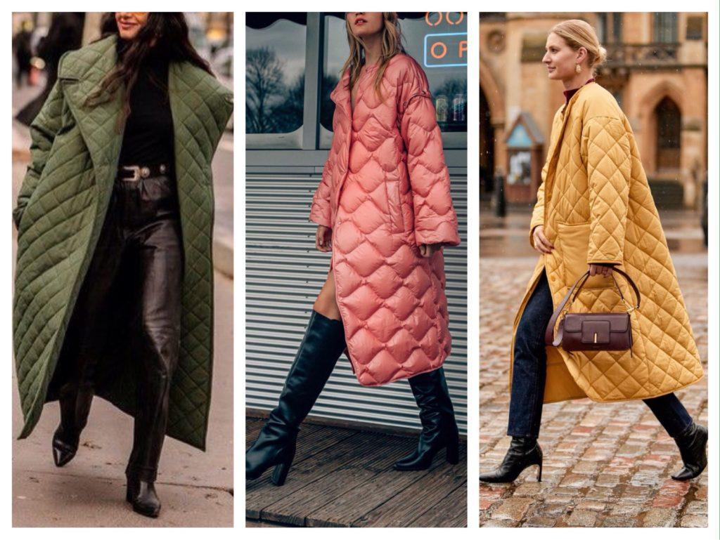 стеганые модели пальто
